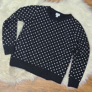 J. Crew black & white polka dot sweatshirt XS